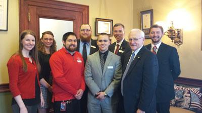 Senator Gene Yaw with Mansfield Univ Students